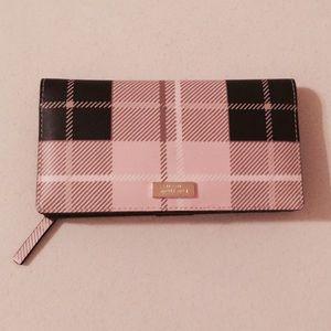 Kate Spade Stacy Printed Newbury Plaid Pink Wallet
